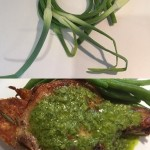 Garlic Scapes and Pork Chops